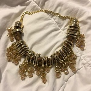 Braided faux leather necklace with beads